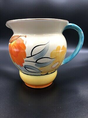 Grays Pottery Jug - Floral Yellow And Orange • 12£