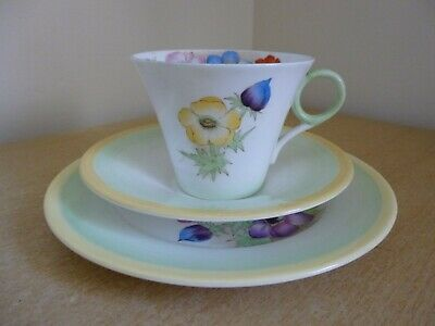 Shelley Trio Cup Saucer Plate - Anemone W12072 - Regent Shaped - Vintage • 25£
