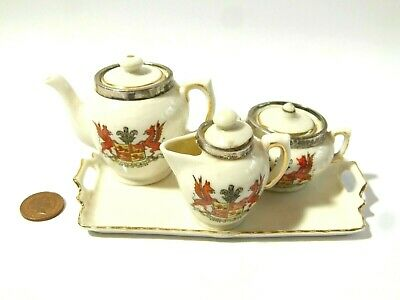 Antique 1907 Sterling Silver GEMMA Crest Ware Wales Miniature Crested China Set • 65£