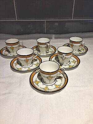 1911-1920, 6 X Minton Coffee Cups And Saucers- Yellow Roses - Design B930 • 12.99£