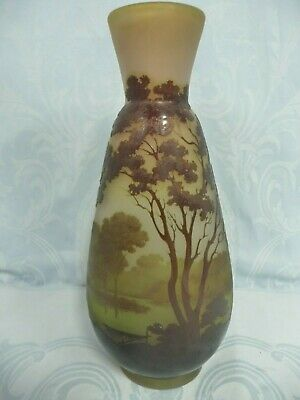 Beautiful Authentic Galle Cameo Glass Vase, 12-1/2  Tall, 1904-1906, Star Mark • 1,264.74£