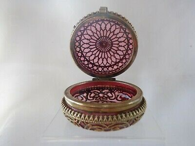 Antique Round Cranberry Glass Trinket Box With  Filigree Mounts  2 1/2  C.1890 • 29£