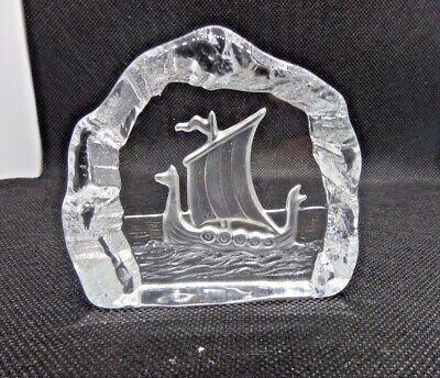 Nybro Etched Crystal Glass Viking Ship Paperweight Sweden Scandinavian Signed • 4.99£