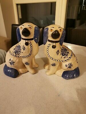 Staffordshire Blue Antique Porcelain Ceramic Collectible Dog Figurine 21cm High • 14.50£