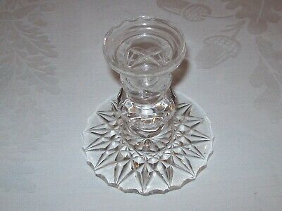 Beautiful, Vintage Cut Glass Candle Holder-10 Cm Tall Approx • 4.99£