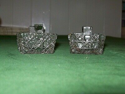 2 X Pretty Georgian?/Antique? Cut Crystal Square Glass Salts- Hobnail Cut • 4.99£
