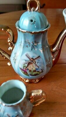 Vintage Coffee Set.Windmill Design Irradescent Blue.perfect Condition Never Usd • 22£