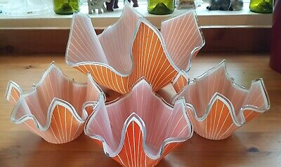 Chance Glass Orange Stripped Hankerchief Bowl Set Of 4 • 30£