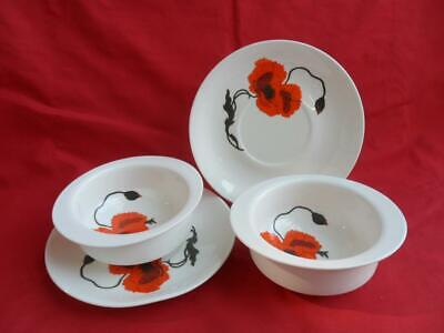 Wedgwood, Cornpoppy - 2 X Soup Bowls & Stands • 16.50£