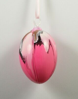 Lovely Decorative Pink Art Glass Drip Design Hanging Bauble • 8.99£
