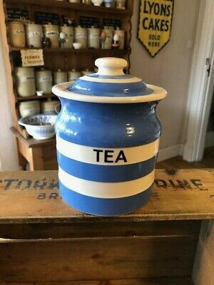 Vintage TG Green Cornishware Cloverleaf Kitchen Storage Jar – Tea – Great!  • 9.99£
