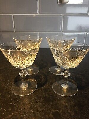 Vintage 4 Matching Cut Glass Old Fashioned Champagne Glasses Dessert Dishes • 9.99£
