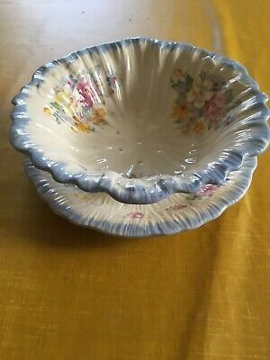 Vintage Crown Ducal Footed Salad Drainer + Plate With Floral Pattern • 6.90£