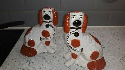 Vintage Pair Of King Charles Pottery Dog Ornaments...quite Lovely. • 15.99£