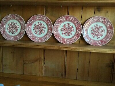 """4x Westminster By Wood And Sons Plates Side/Cake Pink Floral Red White 8"""" 20cm • 9.99£"""