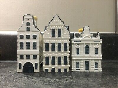 3 X KLM Blue Delft Miniature Houses (Numbers 42-81-86) • 42£