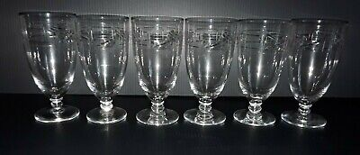 Daum Nancy Crystal 1945 - 1970 Etched Wine / Port Glasses Set Of 6 • 150£