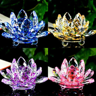 Colorful Rainbow Color Crystal Sparkle Crystal Lotus Flower Ornaments Home Decor • 15.99£