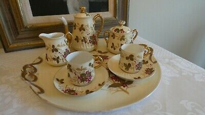 Beautiful Antique French Porcelain 8 X Piece Cabaret Coffee Service  • 165£