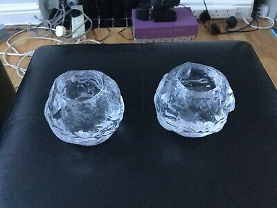 Pair Of Vintage Kosta Boda Snowball Candle Holders • 21£