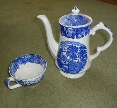 Vintage Enoch Wood's English Scenery Blue & White Coffee Pot & 1 Large Cup • 4.99£