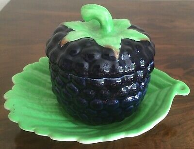 Carlton Ware Blackberry Jam Pot And Stand, One Very Small Chip To Stand • 19.99£