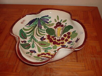 Rustic Country Raised Flower Decorated Fluted Edge Pottery Dish Fruit Bowl  • 3.50£