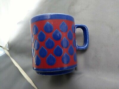 Hornsea Pottery Red And Blue Raindrop  Pattern Mug • 10.49£