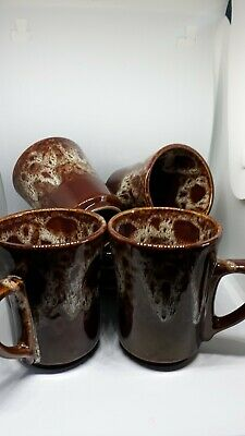 Kernewek  Pottery Cornwall 4 X Cups And Saucers Honey Comb Design • 3.50£
