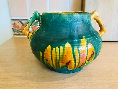 Crown Ducal Pottery Drip Glaze 2 Handled Vase - Green/Yellow/Orange • 45£