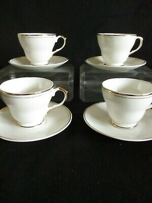 Vintage Salisbury China  Tea Cups And Saucers X 4 Lovely White And Gold • 15.50£