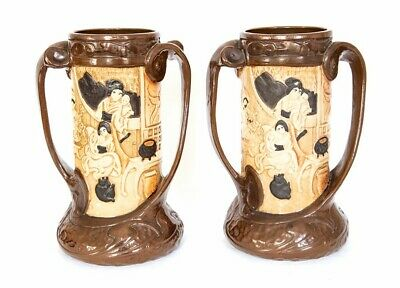 A Pair Of Bretby Art Pottery Twin Handled Carved Bamboo Vases, No. 1587 25cm H • 128£