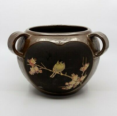 A Bretby Art Pottery Bronzed Triple-handled Jardiniere With 'cloisonne' Panels  • 162£