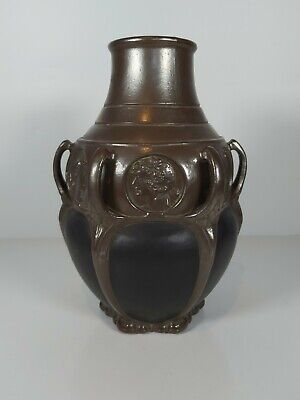 A Bretby Art Pottery Bronzed Art Nouveau Multi-handled Baluster Vase 29cm Tall • 228£