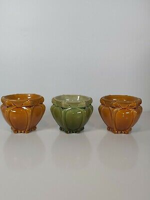 3x Of Bretby Art Pottery Small Planters With Caramel Glaze And Green Glaze • 104£