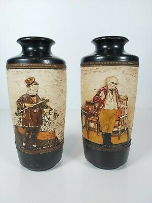 A Pair Of Bretby Art Pottery Dickensian Wares Vases, No.2963D Appr.7.5/19cm Tall • 40£