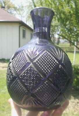 Nice Purple Colored Fancy Cut Glass Water Bottle Pontil 1905 Era Decorative L@@k • 32.84£