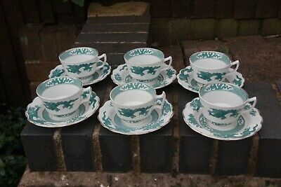 VINTAGE BOOTHS GREEN DRAGON TEACUPS AND SAUCERS X 6 • 29.99£