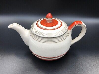 Gray's Pottery Teapot. Cream With Gold And Orange Banding B902 • 14.99£