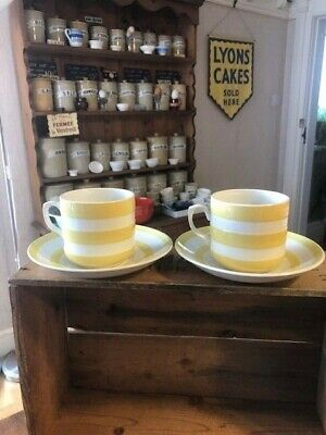 Vintage TG Green Cornishware – Pair Yellow Banded Cups/ Mugs & Saucers – Great! • 26.99£