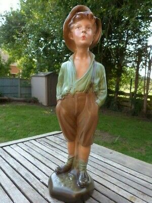 LOVELY LARGE VINTAGE 1930s CERAMIC CHALKWARE FIGURINE OF THE  WHISTLING BOY . • 47£