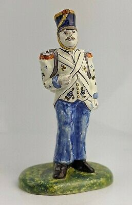 A Fine Antique French Faience Figure Of A Napoleonic Soldier - Desvres ? Pottery • 149.99£