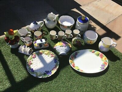 Job Lot Pottery Collectables, 20 Pieces Of Fruit Design Etc Pottery • 20£