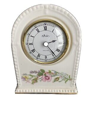 AYNSLEY FINE BONE CHINA WILD TUDOR CLOCK 13cm Height • 8.50£