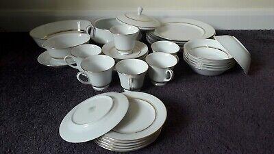 Noritake L553 GLORIA White And Gold Dinner Service 33 Piece Excellent Condition • 80£