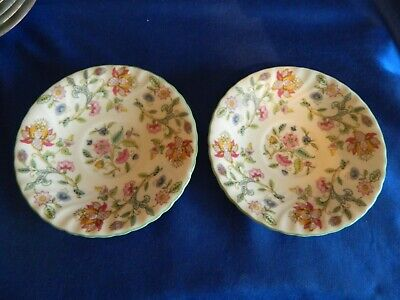 Minton  'Haddon Hall'  Green Soup Coup SAUCERS ONLY X 2 • 4£