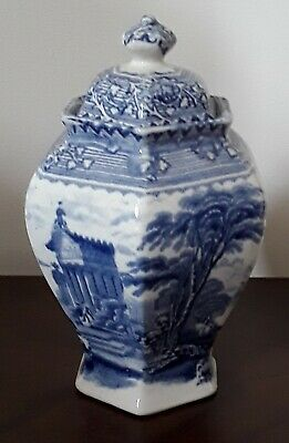 Blue And White Hexagonal Temple Jar Lidded Vase Arcadian Chariots • 15£