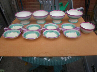 Grays Pottery Hand Painted Sundae Dish X 4 Twin Section Dish X 4 + Dipping Bowl • 12.50£