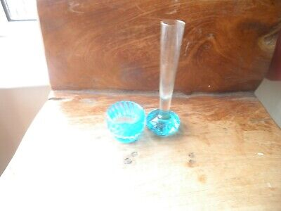 Vintage/retro Electric Blue Glass Bubble Bud Vase • 0.99£