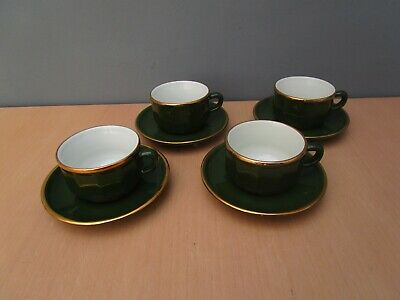 4 Apilco Green With Gold Edge Cups And Saucers • 13£